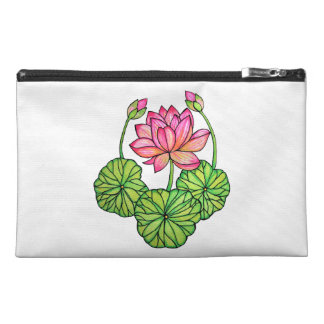 Watercolor Pink Lotus with Buds & Leaves Travel Accessory Bag