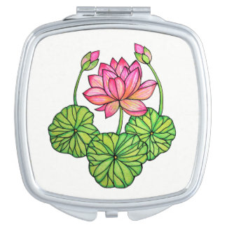 Watercolor Pink Lotus with Buds & Leaves Travel Mirrors