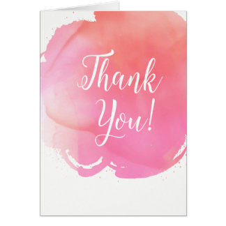 Watercolor Pink Orange Thank You Word Art Card