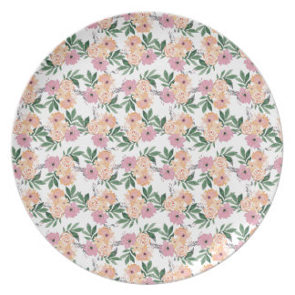 Watercolor pink&peach floral plate