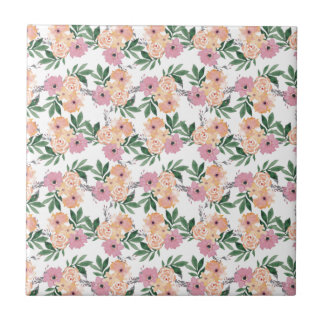 Watercolor Pink&Peach flower pattern Small Square Tile