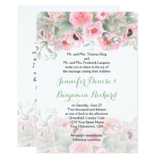 Watercolor Pink Peonies Anemones Invitations