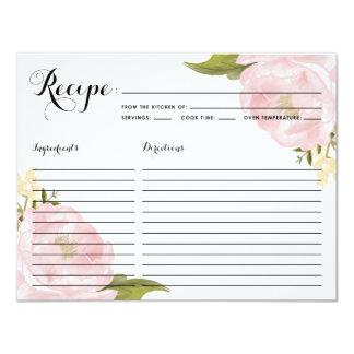Watercolor Pink Peonies Bridal Shower Recipe Card