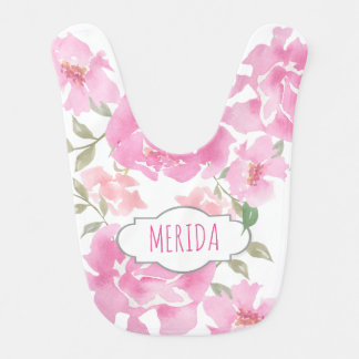 Watercolor Pink Peonies Floral Cute Girly Baby Bibs