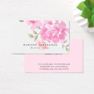 Watercolor Pink Peonies  Flowers Business Card