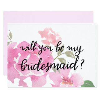 Watercolor Pink Peonies Handwritten | Bridesmaid Card