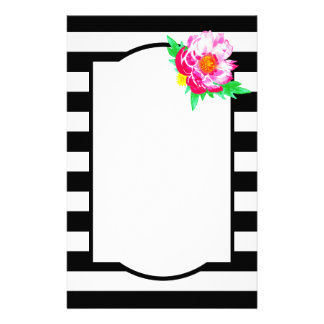 Watercolor Pink Peony Black & White Stationery