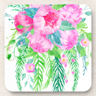 Watercolor Pink Peony bouquet Coaster
