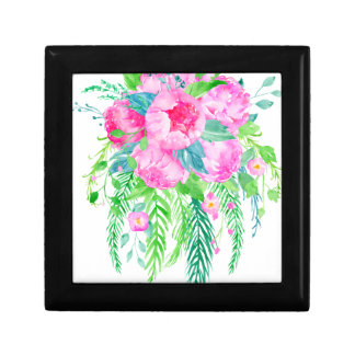 Watercolor Pink Peony bouquet Gift Box