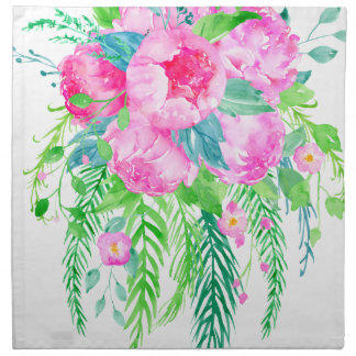 Watercolor Pink Peony bouquet Napkin