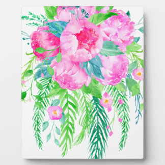 Watercolor Pink Peony bouquet Plaque