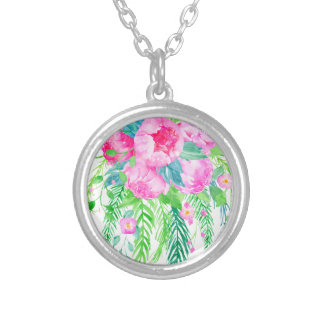 Watercolor Pink Peony bouquet Silver Plated Necklace
