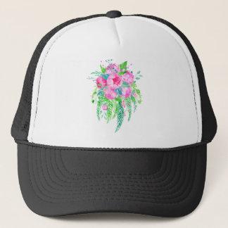 Watercolor Pink Peony bouquet Trucker Hat