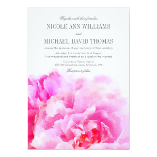 Watercolor Pink Peony Floral Wedding Invitations