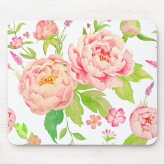 Watercolor pink peony pattern mouse pad