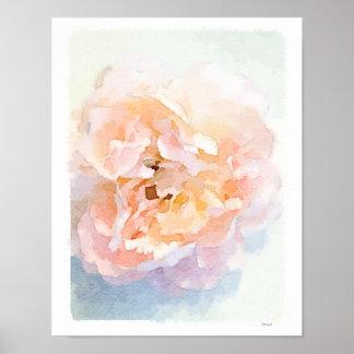 Watercolor Pink Peony poster art print