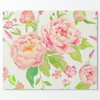 Watercolor pink peony Wrapping paper
