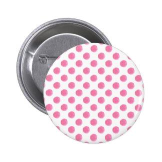 watercolor pink polka dots dotty design 6 cm round badge