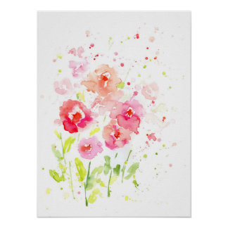 Watercolor Pink Poppies Poster
