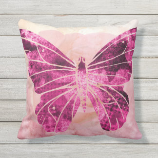 Watercolor Pink Purple Butterfly Vintage Rose Throw Pillow