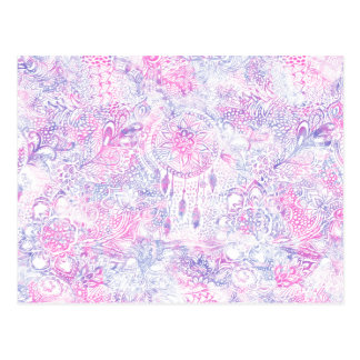 Watercolor Pink Purple Dreamcatcher Illustration Postcard