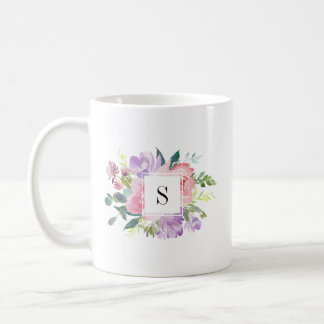 Watercolor Pink Purple Flowers Elegant Monogram Coffee Mug