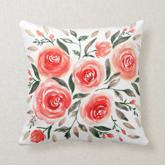 Watercolor Pink Red Floral Roses Pattern Cushion