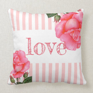 Watercolor Pink Rose Botanical Floral Art Stripes Cushion