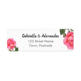Watercolor Pink Rose Botanical Floral Art Wedding Return Address Label