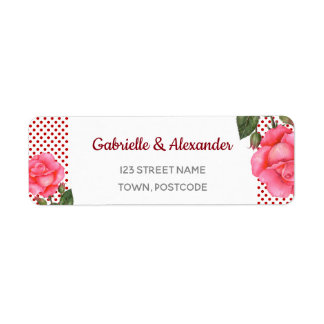 Watercolor Pink Rose Botanical Floral Art Wedding Return Address Label