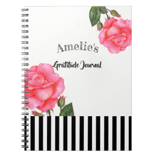 Watercolor Pink Rose Botanical Illustration Notebook