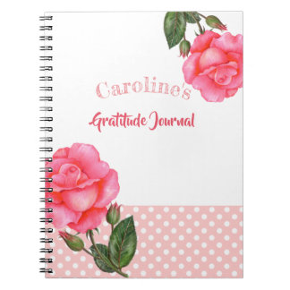 Watercolor Pink Rose Botanical Illustration Notebooks