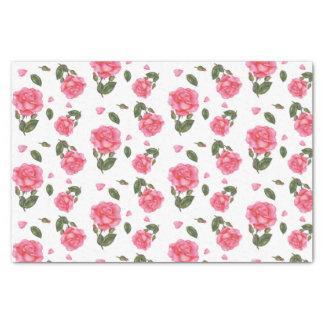 Watercolor Pink Rose Botanical Illustration Tissue Paper