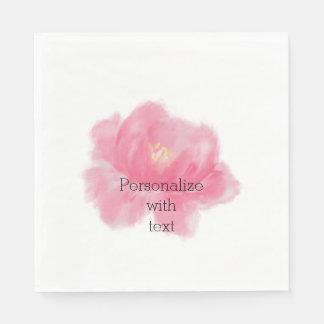 Watercolor Pink Rose Disposable Serviette