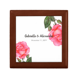 Watercolor Pink Rose Floral Illustration Wedding Gift Box