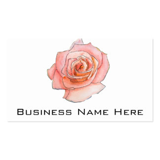 Watercolor Pink Rose Painting Business Card Templates