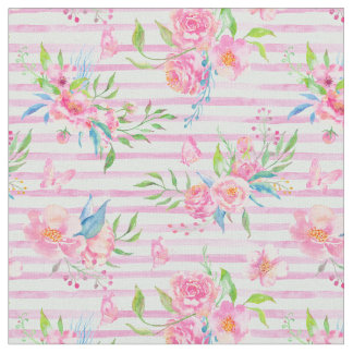 Watercolor Pink Rose Pattern Stripes Fabric