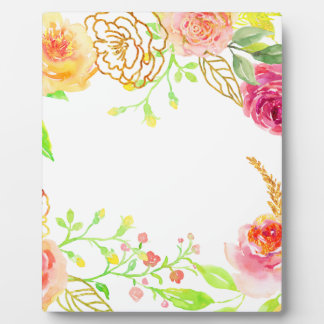 Watercolor pink rose with gold foil frame