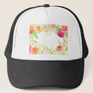 Watercolor pink rose with gold foil frame trucker hat