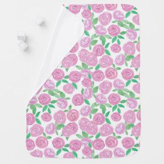 Watercolor . Pink roses . Baby Blanket