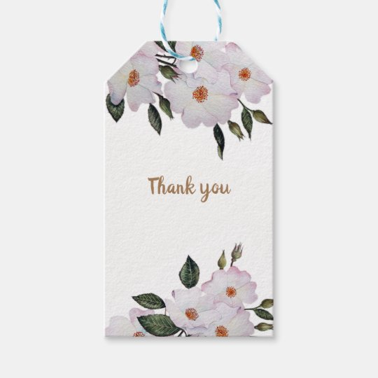 Watercolor Pink Roses 'Ballerina' Floral Art Gift Tags