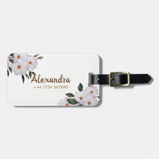 Watercolor Pink Roses 'Ballerina' Floral Art Luggage Tag