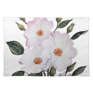 Watercolor Pink Roses Ballerina Floral Art Placemat