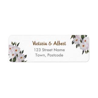 Watercolor Pink Roses Ballerina Floral Art Wedding Return Address Label