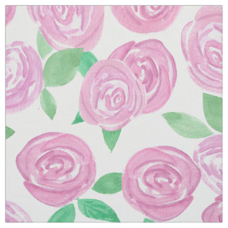 Watercolor . Pink roses Fabric
