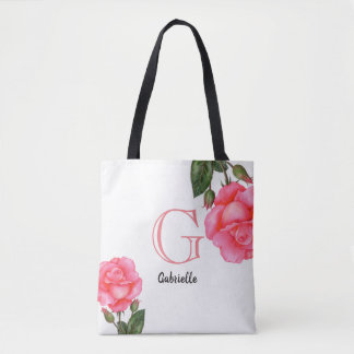 Watercolor Pink Roses Floral Art Monogram Tote Bag