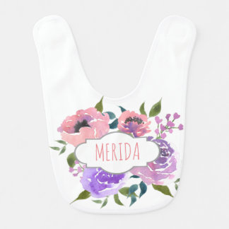 Watercolor Pink Roses Floral Cute Bib