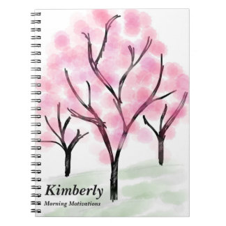 Watercolor Pink Trees and Light Green Grass Notebooks