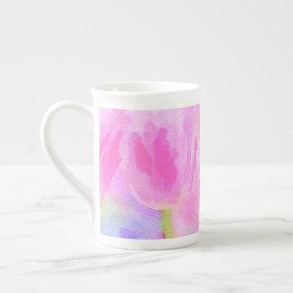 Watercolor Pink Tulips Bone China Mug