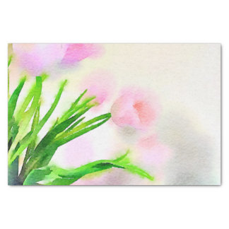 Watercolor Pink Tulips Tissue Paper